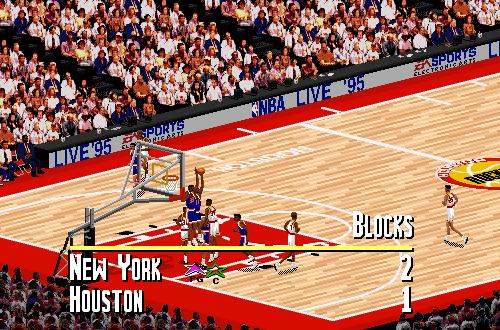 New York Knicks vs. Houston Rockets in NBA Live 95