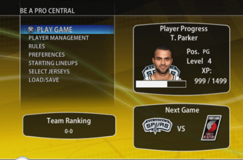 Be A Pro in NBA Live 09 PS2