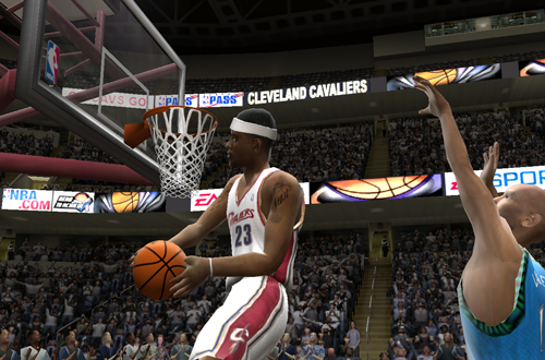 LeBron James dunking in NBA Live 2005