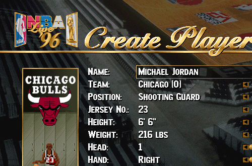 Michael Jordan Created Player in NBA Live 96