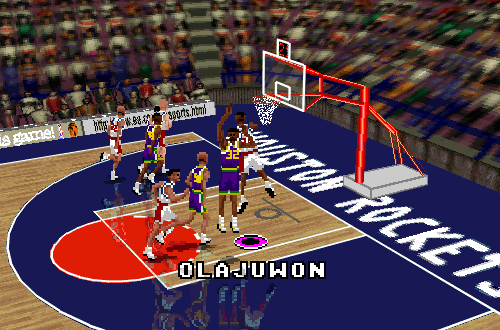 Hakeem Olajuwon dunks in NBA Live 96