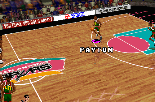 Gary Payton dribbles upcourt in NBA Live 96