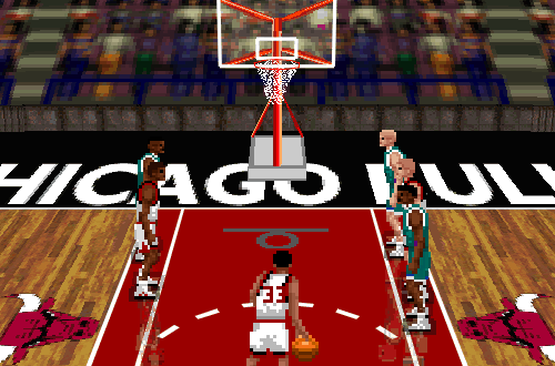 Scottie Pippen at the free throw line in NBA Live 96