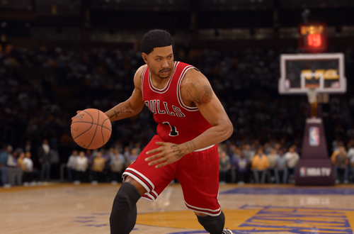Derrick Rose dribbling in NBA Live 16