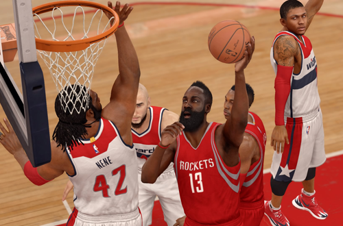 James Harden with the layup in NBA Live 16