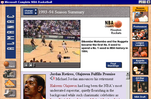 Microsoft Complete NBA Basketball - 1994 Season Recap