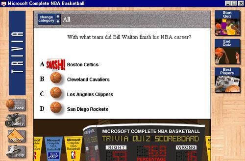 Microsoft Complete NBA Basketball - Trivia