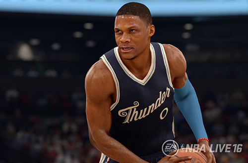 Russell Westbrook wearing the Thunder's Christmas Jersey in NBA Live 16