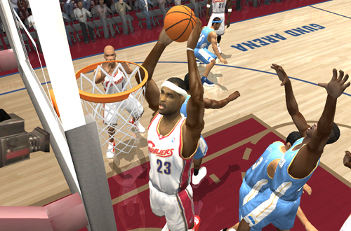 LeBron James dunks in NBA Live 2004