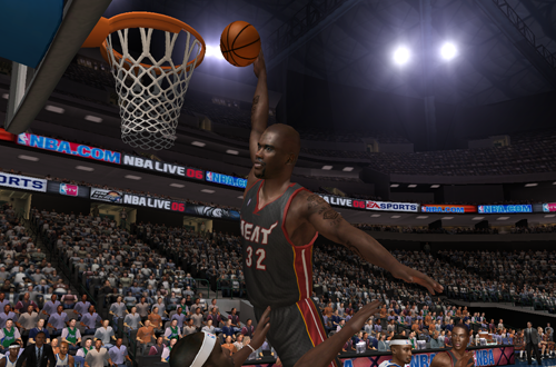 Shaquille O'Neal dunks in NBA Live 06