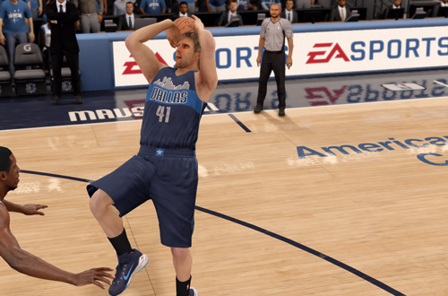 Dirk Nowitzki with the fadeaway in NBA Live 16