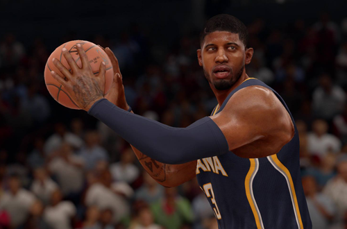 Paul George with the basketball in NBA Live 16