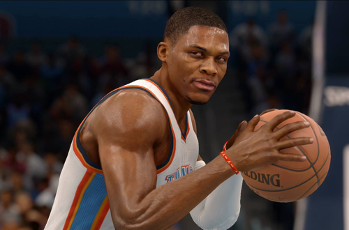 Russell Westbrook with the basketball in NBA Live 16