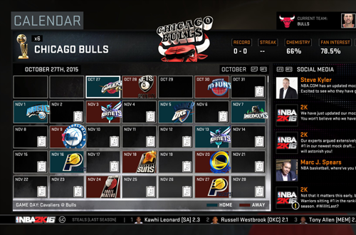 Taking control of the Chicago Bulls' franchise in NBA 2K16's MyLEAGUE