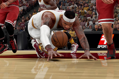 LeBron James dives for the basketball in NBA 2K16