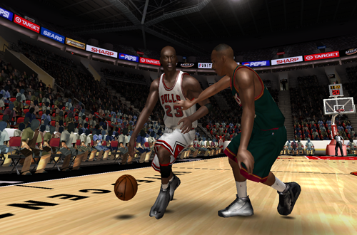 Michael Jordan vs. Hersey Hawkins in the Ultimate Jordan Roster for NBA Live 08