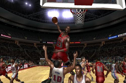 Michael Jordan dunks on Dennis Rodman in the Ultimate Jordan Roster for NBA Live 08
