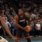 Dwyane Wade with the basketball in NBA Live 16
