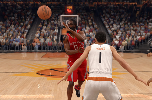 James Harden passes the basketball in NBA Live 16