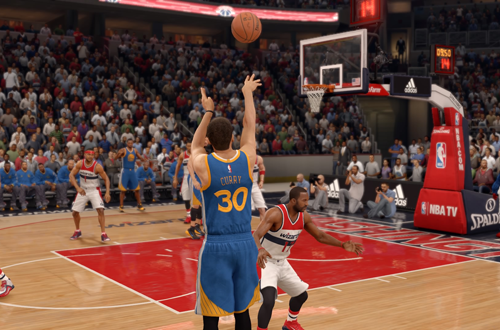 Stephen Curry shoots a three-pointer in NBA Live 16