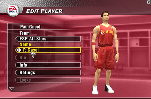 Pau Gasol on the Spanish National Team in NBA Live 2004