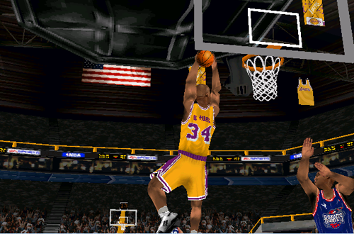 Shaquille O'Neal dunks the basketball in NBA Live 99