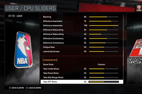 Gameplay Sliders in NBA 2K16