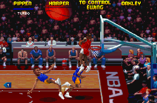 Ron Harper dunks in NBA Jam Tournament Edition PC