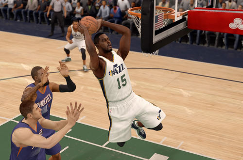 Current Utah Jazz jerseys, as worn by Derrick Favors in NBA Live 16