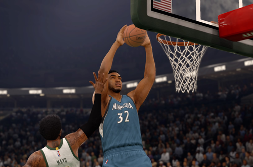 Karl-Anthony Towns dunks in NBA Live 16
