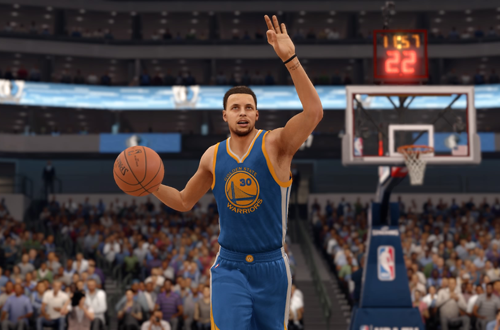 Current Golden State Warriors jerseys, as worn by Stephen Curry in NBA Live 16