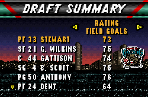 Expansion Draft in NBA Live 96 SNES