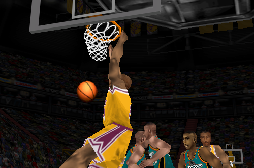 Shaquille O'Neal dunking in NBA Live 98
