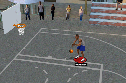 Antoine Walker on the practice court in NBA Live 99
