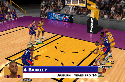 Charles Barkley shoots a free throw in NBA Live 99