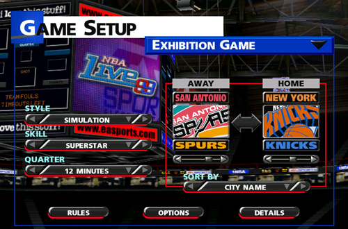 Main Menu in NBA Live 99