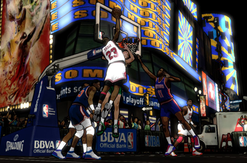 Michael Jordan dunking in the NBA 2K12 Legends Showcase DLC