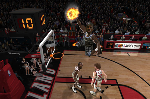Shaquille O'Neal dunking in NBA Jam: On Fire Edition