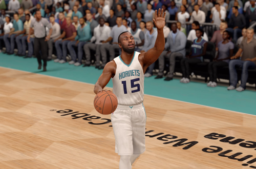 Kemba Walker dribbles the basketball in NBA Live 16