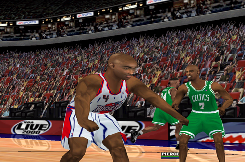 Charles Barkley celebrates in NBA Live 2000