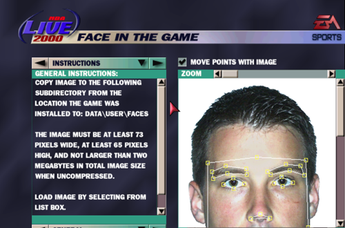 Face in the Game in NBA Live 2000