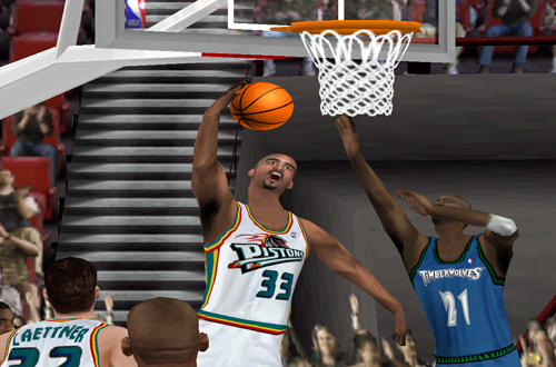 Grant Hill with the reverse layup in NBA Live 2000