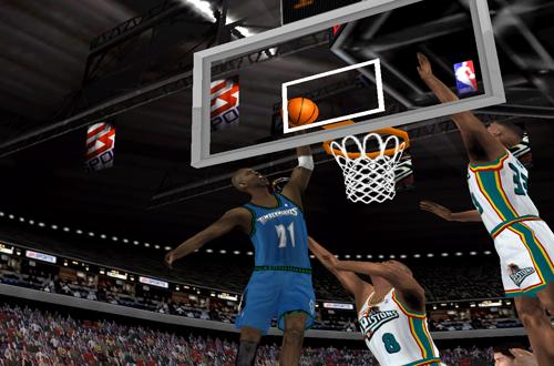 Kevin Garnett dunking in NBA Live 2000