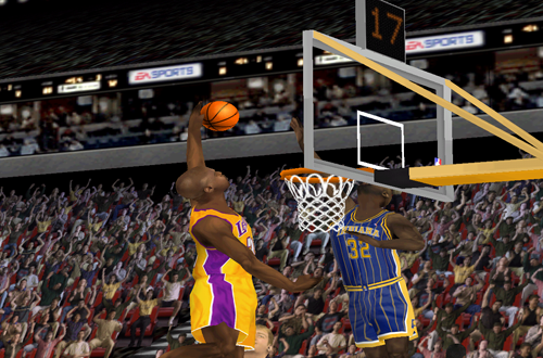 Shaquille O'Neal dunks in NBA Live 2000