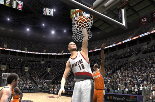 Joel Przybilla dunks the basketball in NBA Live 2005