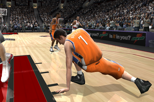 Primoz Brezec stumbles in NBA Live 2005