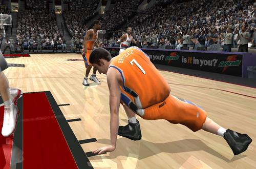 Primoz Brezec stumbles in NBA Live 2005