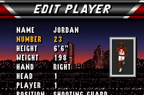 Michael Jordan in NBA Live 96 SNES