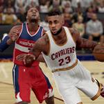 LeBron James dribbles the basketball in NBA 2K16