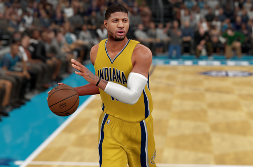 Paul George dribbles the basketball in NBA 2K16